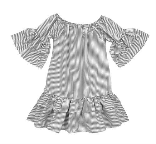 Платье, MD (полоска, волан) - фото 20878