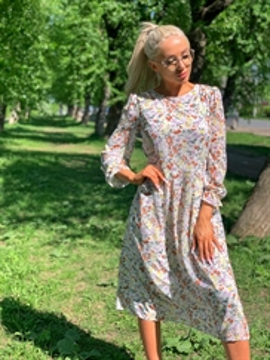 Платье, SA 7198 (миди,принт, шифон)
